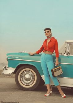 colour, colored capris outfits, car, turquois, inspir, aqua, classic vintage style, 50s, retro style fashion