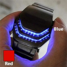 Iron Head Cobra LED Watch with Stainless Steel Band in Your Choice of Red or Blue LED Lights
