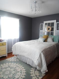 grey,mint and yellow bedroom