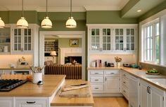 wall colors, butcher block, traditional kitchens, kitchen colors, green wall, green kitchen, kitchen design, white cabinets, white kitchens