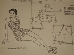 Vintage Swimsuit pattern draft
