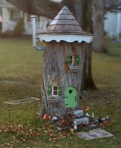 clotheslines, fairi hous, fairi garden, tree stumps, fairy houses, gnome home, front yards, kid, fairy homes