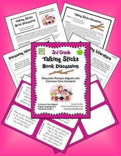 Talking Sticks Book Discussion Grade 3 CCSS Aligned - Great way to equalize participation in small group discussions - Questions correlate to literature and informational text standards for 3rd grade, and you can also customize the activity by creating your own questions. Preview online before purchasing. $