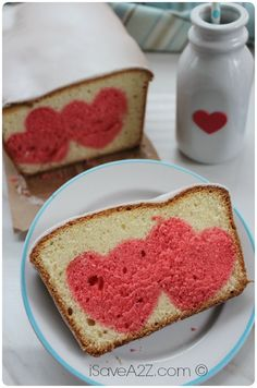 Easy Pound Cake Recipe with cute little pink hearts baked in the center!  Comes out moist and delicious!  iSaveA2Z.com Pound Cakes, Food Colors, Valentine Day, Diy Crafts, Strawberries Cake, Valentine Desserts, Easy Pound Cake, International Recipe, Pound Cake Recipes