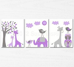 purple and grey  Nursery Art  nursery room decor  by SugarInspire, $14.95