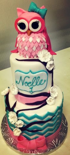 Pink owl cupcake cake topper