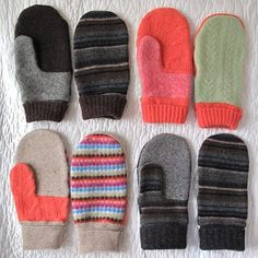 Recycled wool mittens - I LOVE these and I'm seriously thinking of making some, after reading that mittens are more efficient at keeping your hands warm than gloves... and it's so cold outside at the moment!