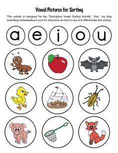 33 FREE colorful vowel pictures for sorting activities.