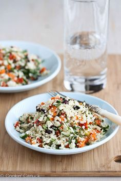 Cauliflower couscous (raw and vegan) Grated Cauliflower Salad Recipe with Peppers, Carrots & Capers | cookincanuck.com #vegan #vegetarian
