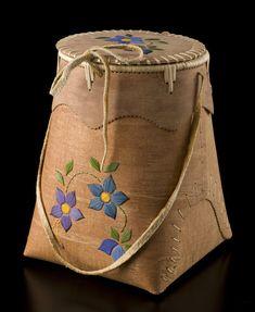 Birch Bark Berry Picking Basket (Blue Wild Flower design) by Carrie Kotchea, Dené artist (N80304)
