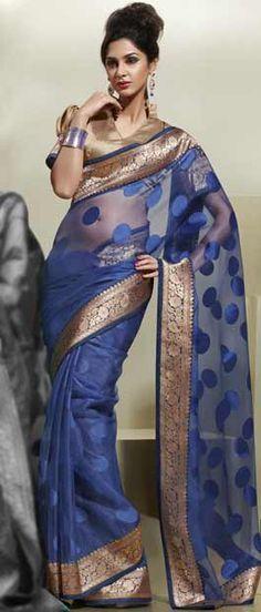 Saree, Sarees, Blue Saree, Designer Saree by #Utsavfashion | $66.82