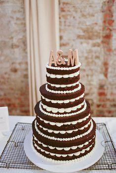 Naked chocolate wedding cake.