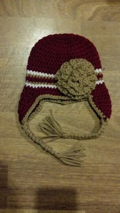 49er Red & Gold Earflap Croche Hat w/Rose 03 36 612 by MommyPowers, $13.00