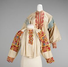 Shirt.  Date: fourth quarter 19th century. Culture: Slovak. Medium: cotton. Dimensions: Length at CB: 28 in. (71.1 cm).
