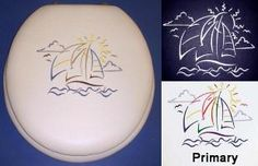 Cloud Soft designer padded toilet seats. Sailboat Embroidery