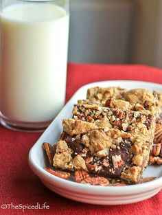 Fancify your chocolate by making it into these Pecan Oat Bars! It's a great candy recipe you can treat yourself to when you want homemade chocolate candy with a little pizzazz.