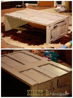Reclaimed white door coffee table
