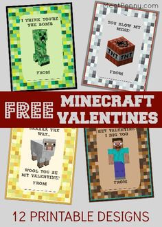 Free Printable Minecraft Valentines Day Cards - Meet Penny