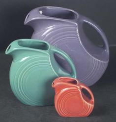 Vintage Fiesta Disc Pitchers (large is for water, medium is for juice, mini is for syrup or as a collectible)