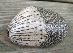 Rock 8: Micron pen (ink) on rock. August, 2012.  About 7 inches in length. rocks sharpie, micron pen, zentangle on rocks, rock art, pen ink, paint rock, zentangle rocks