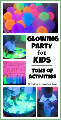 GLOWING party for kids - tons of activities in the post including a glowing ball pit, homemade glowing bubbles, GOOP, GLOWING jello, paint, and more! Have to keep in mind for Kitas sleepover this year!