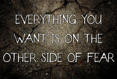 Everything you want, is on the other side of fear
