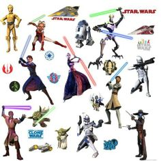 """RoomMates RMK1382SCS Star Wars: The Clone Wars Glow in the Dark Wall Decals by RoomMates. $9.97. From the Manufacturer                You will definitely """"feel the Force"""" with this ultra dynamic set of Star Wars: The Clone Wars wall decals. Based on the hit Cartoon Network show from the Lucasfilm Animation studios, these decals feature the original 3D art of all your favorite characters: Anakin Skywalker, Ahsoka Tano, Obi-Wan Kenobi, Yoda, R2D2, and many more. Better y..."""