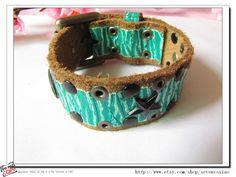 Fashion Adjustable Green Leather Bracelet  Star by sevenvsxiao, $12.00