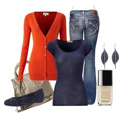 """""""Lila"""" by ljjenness on Polyvore - INSPIRED: coral pearl cardi, navy top, reg denim jean, navy flat, navy bag coral jewelry, navy/coral/gold nails"""