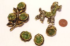 Very Vintage Poodle Set Flower Brooch Ring Earrings Crushed Glass Stones $39.99