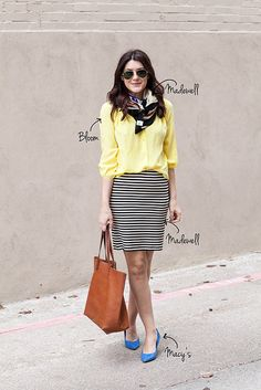 yellow blouse, black/white striped skirt, blue shoes, scarf