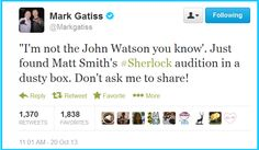 This may be the most evil thing Mark Gatiss has ever tweeted. <-- You sassy wench, SHOW THE FANDOM THE VIDEO!!
