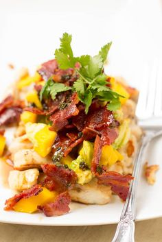 Warm Bacon dressing with grilled chicken and avocado mango salsa