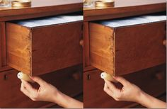 DIY: unsticking a drawer (rub the undersides with a wax candle, and they will slide open like new)