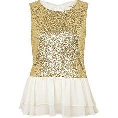 gold sequin peplum top - peplum tops - tops - women - River Island