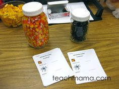 Estimation Game:  The Candy Estimation Game sheet can be downloaded here, and ll you need is a jar of candy corn and a jar of spiders!