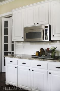 cabinet colors, cabinet handl, bliss bee, light kitchen, hous, white cabinets, kitchen remodel, knob