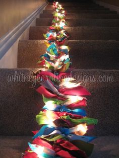 The Scrappy Ribbon Garland ~ Christmas lights  scrap ribbon... tie scrap ribbon onto the string of lights holiday, christmas colors, ribbon, christmas lights, kid rooms, fabric scraps, diy light, christmas trees, girl rooms