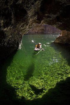 Kayaking in Emerald Cave, Colorado River   in Black Canyon, Arizona, USA