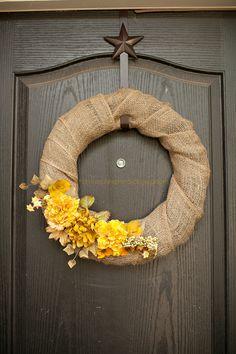 DIY upcycled burlap & flower wreath!