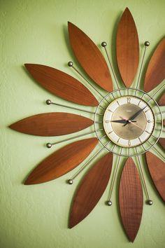Wooden flower clock, mid-century modern feel, Christina Diane