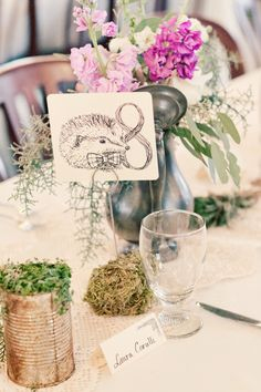 hedgehog table number // photo by JenniferEileen.com