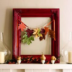 string a few paper (or real!) leaves across a mirror for an easy decoration that doesn't take up a lot of room #partycrafters #apartmentdecorating #fall