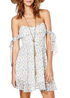 Adorable Strapless Open Back Floral Chiffon Skater Dress