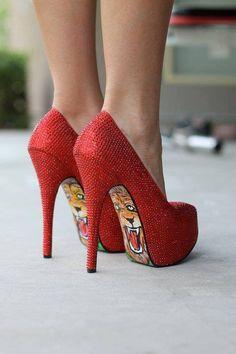 shoes, shoe collection, lion, red, tiger, designer handbags, heel, wizard of oz, fashion women