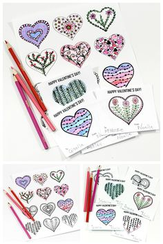 FREE PRINTABLE hearts coloring page and Valentine's Day cards for kids to color and hand out to their friends and classmates. Kids will love making their own cards and parents will love having half an hour of peace and quiet while the kids are busy coloring.