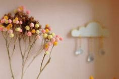 Branches are real then polymer clay and velvet powder for little pompom like flowers. #diy #crafts #polymer_clay