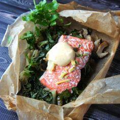 Baked Salmon, Shiitakes, & Chard Recipe
