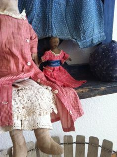 "1800primitives.com May 24 Up~date. Mid 19Th C Early Cloth Doll..Church Size 6"" ."