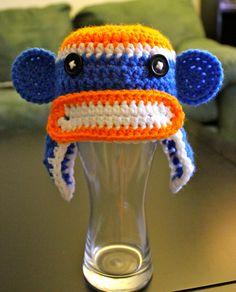 Florida Gators Crochet Sock Monkey Beanie -- Newborn to Adult.